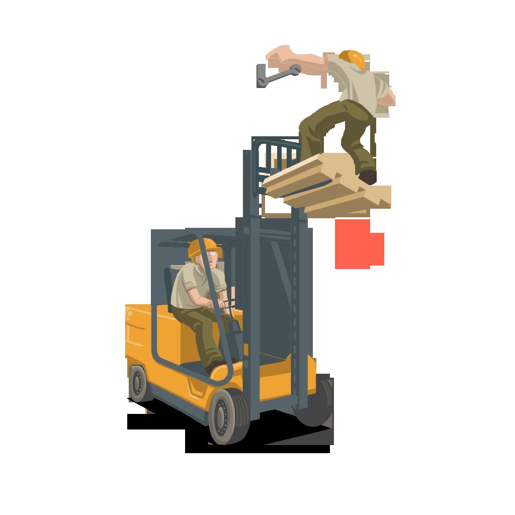 Trabajador elevado subido en una carretilla elevadora