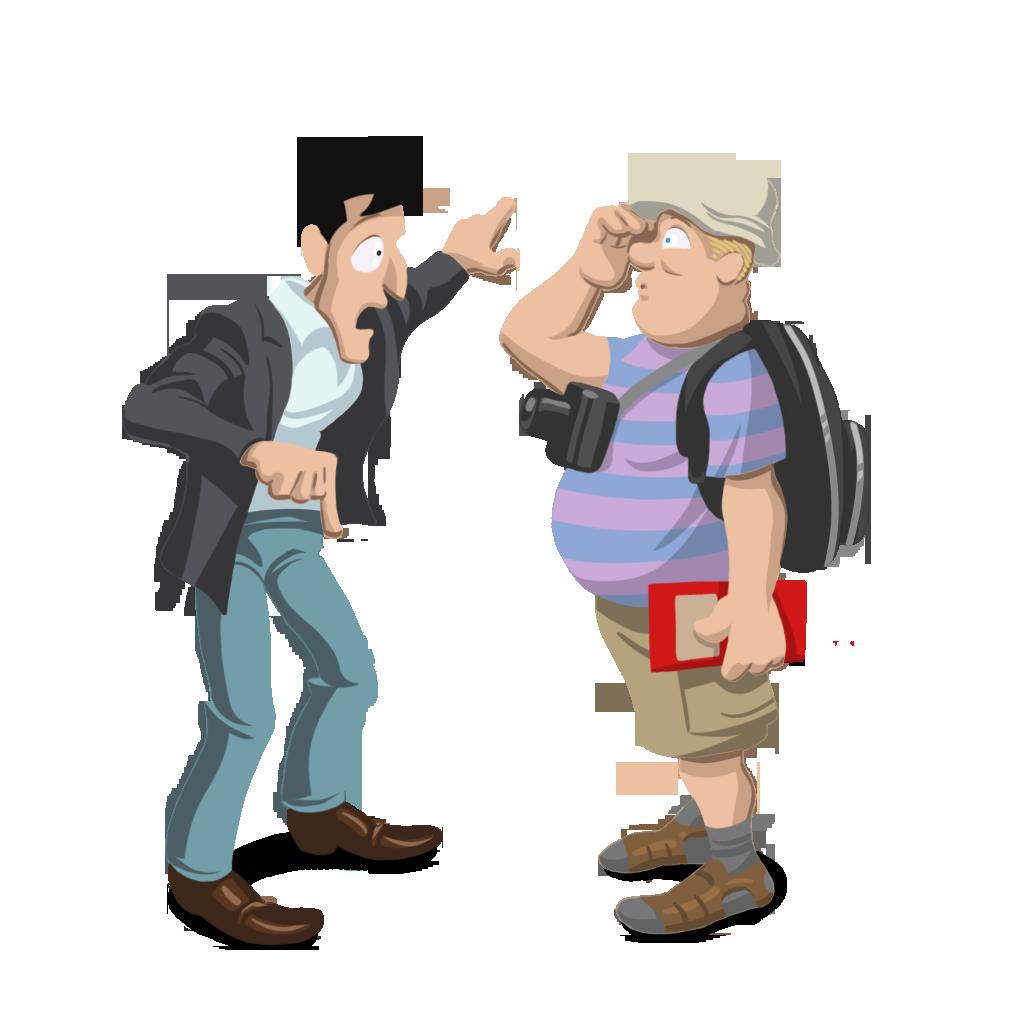 Ilustración sobre una conversación para dar indicaciones a un turista