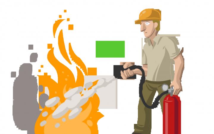 Ilustración de un trabajador lanzando un extintor sobre un fuego