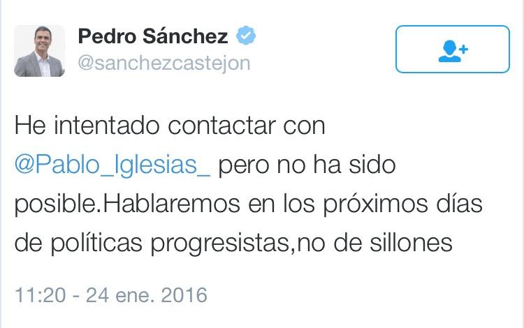 Twit Pedro Sánchez