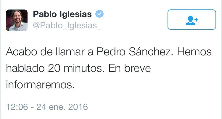 Twit Pablo Iglesias